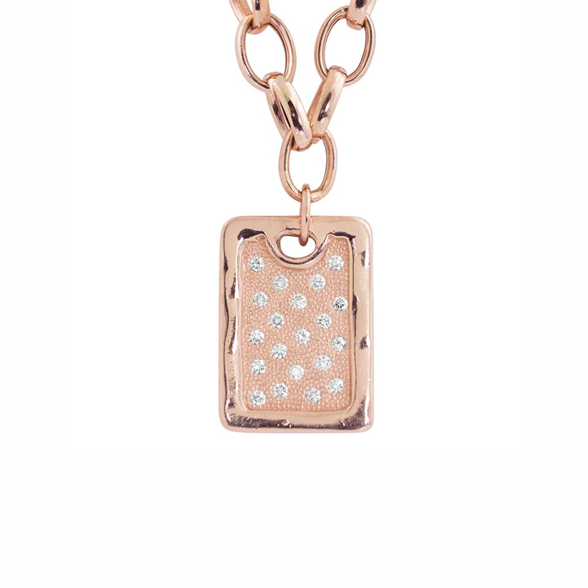 Julez Bryant 14k Large Diamond Dog Tag Pendant Necklace