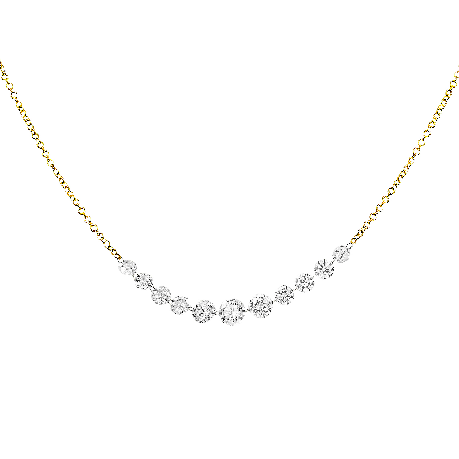 Aero Diamonds 18k Streamer Centered Diamond Necklace