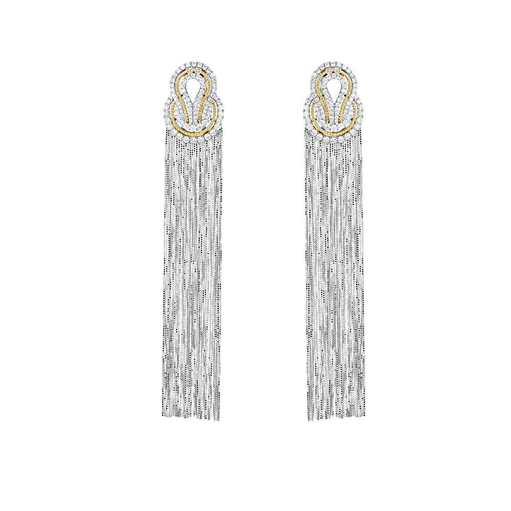 London Collection 18k White Gold Diamond Knot Fringe Drop Earrings