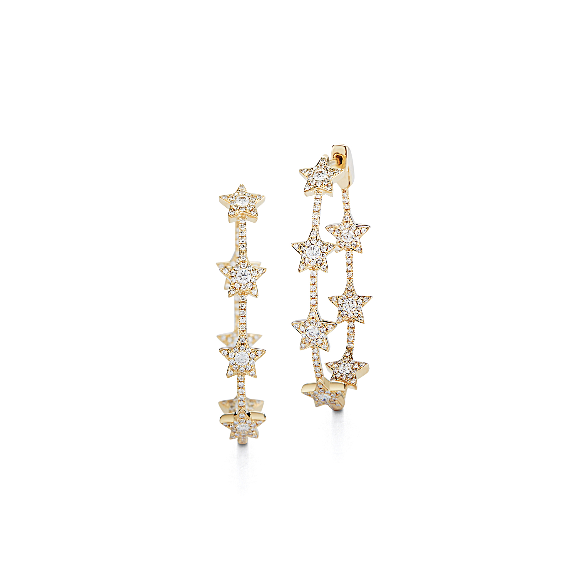 London Collection Diamond Star Hoop Earrings