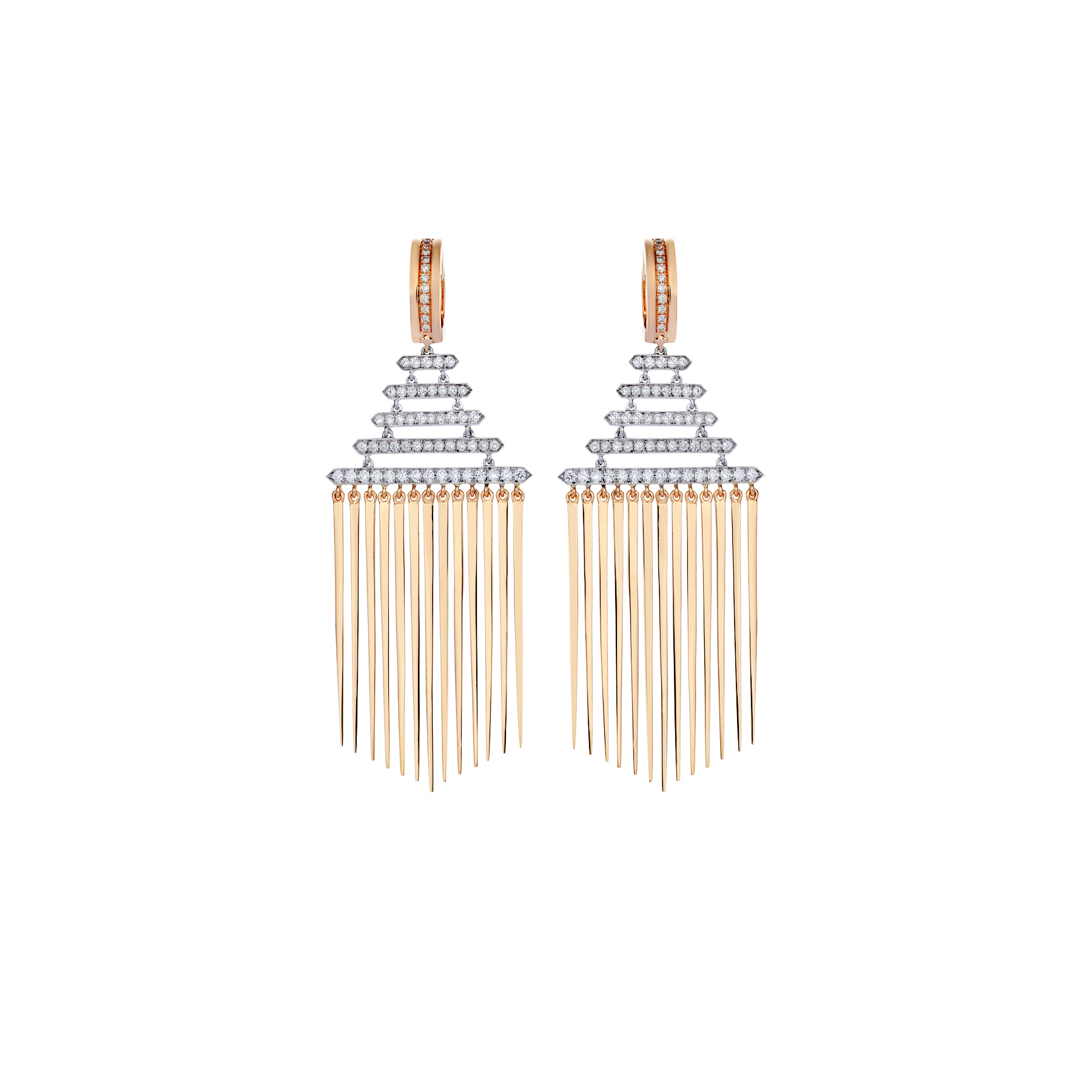 B Point 18k Stick Fringe Drop Earrings