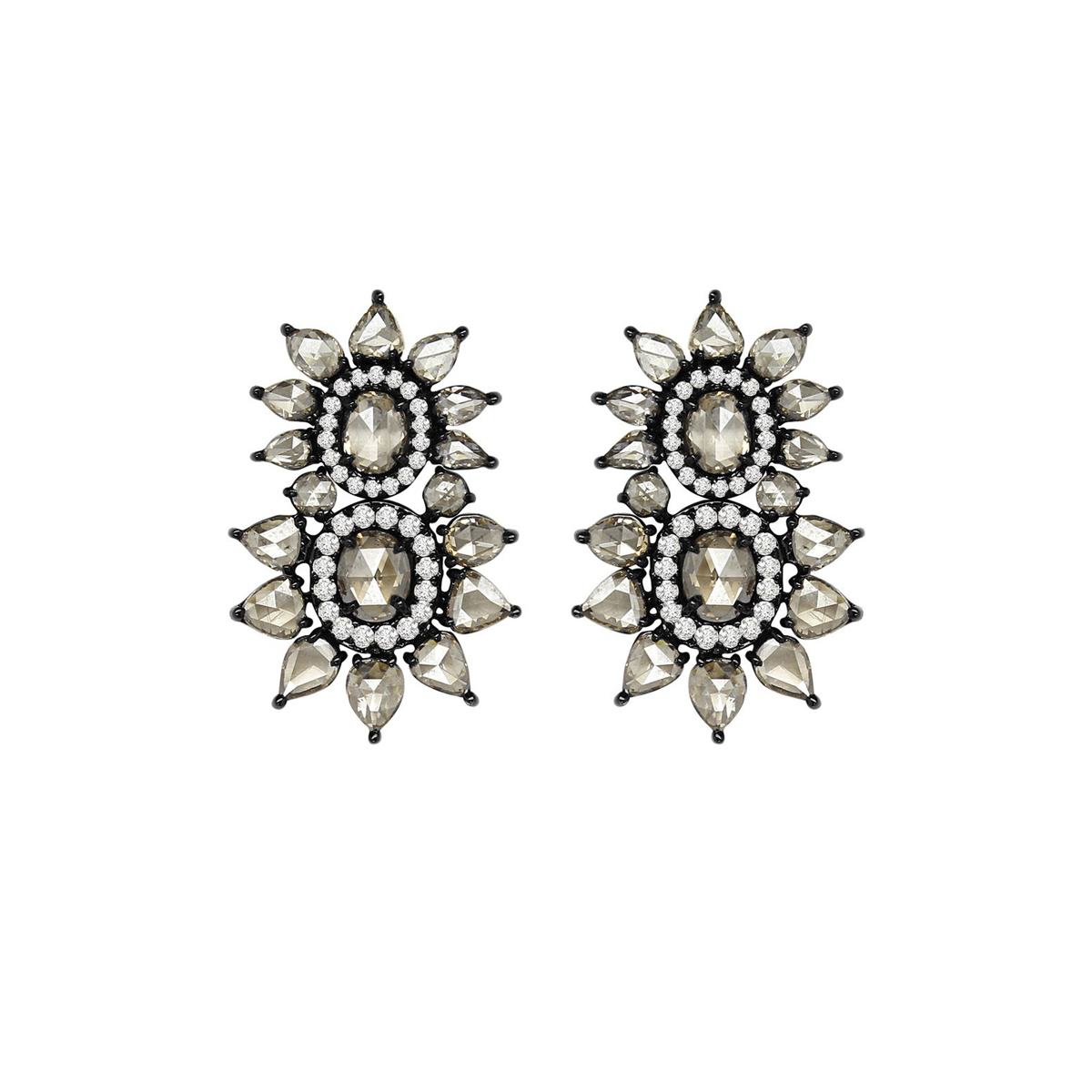 Sutra Jewels Black Gold Double Diamond Burst Earrings