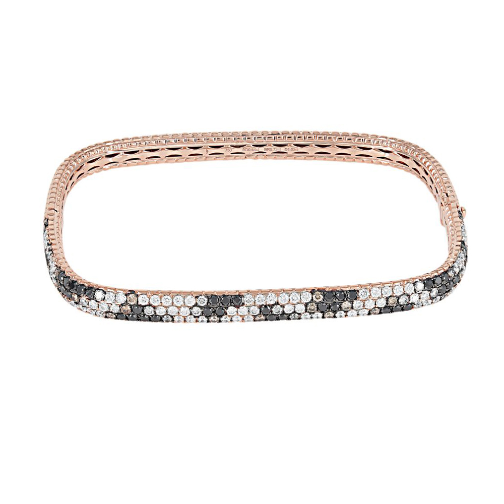 London Collection Black, Brown and White Diamond Bangle Bracelet