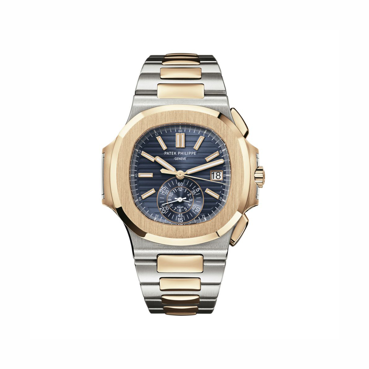 Patek Philippe Stainless Steel and Rose Gold Blue Dial Nautilus