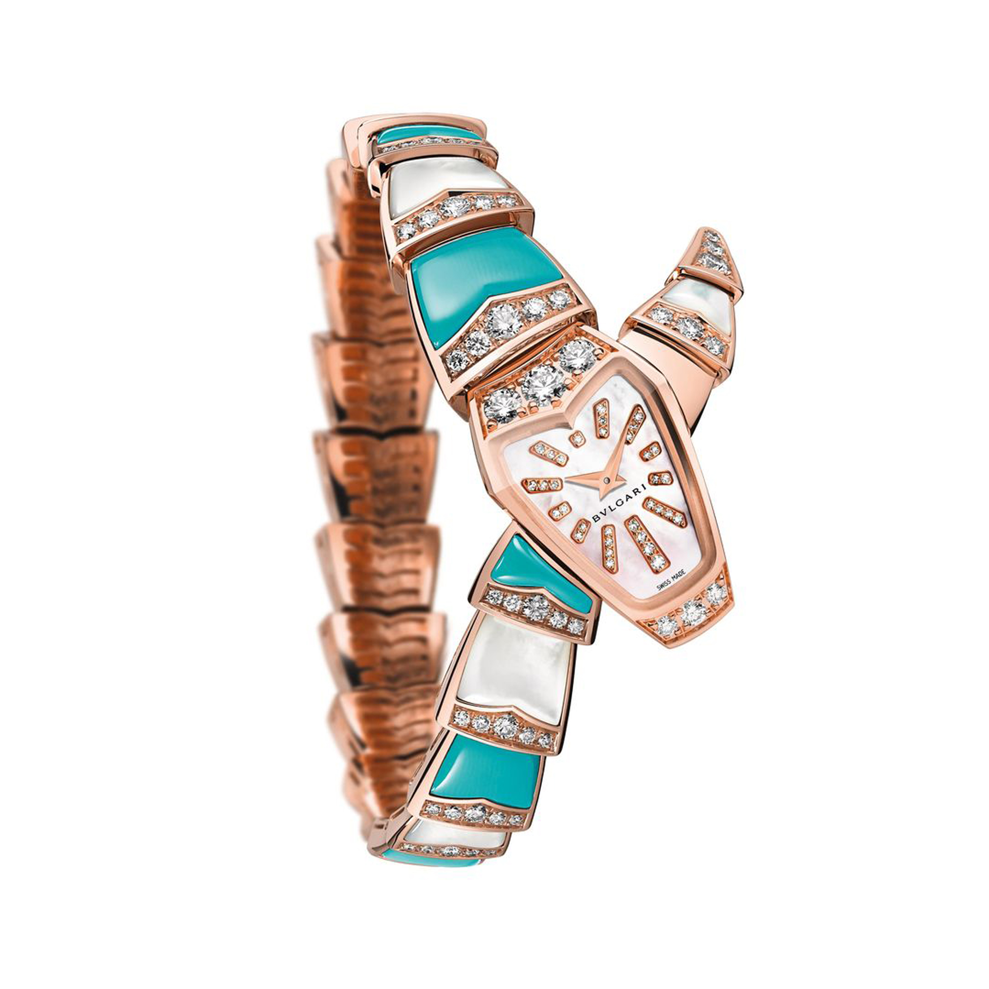 alt:textBulgari Serpenti 18k Turquoise and Mother of Pearl Diamond Watch