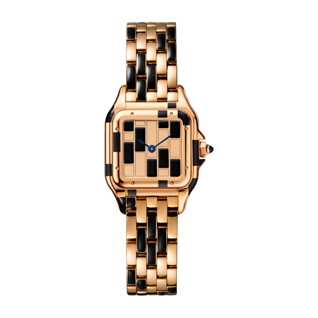 Panthere De Cartier Rose Gold and Black Lacquer Small Watch