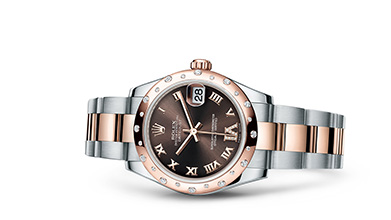 DATEJUST 31 Oyster, 31 mm, steel, Everose gold and diamonds