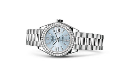LADY-DATEJUST 28 Oyster, 28 mm, platinum and diamonds
