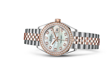 LADY-DATEJUST 28 OOyster, 28 mm, Oystersteel, Everose gold and diamonds