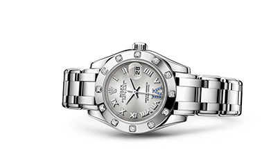 PEARLMASTER 29 Oyster, 29 mm, white gold and diamonds