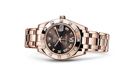 PEARLMASTER 34 Oyster, 34 mm, Everose gold and diamonds