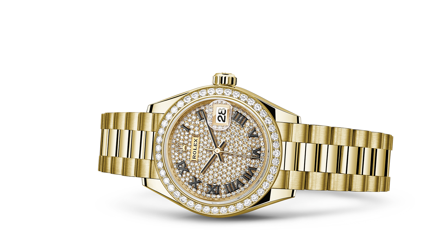 LADY-DATEJUST 28 Oyster, 28 mm, yellow gold and diamonds