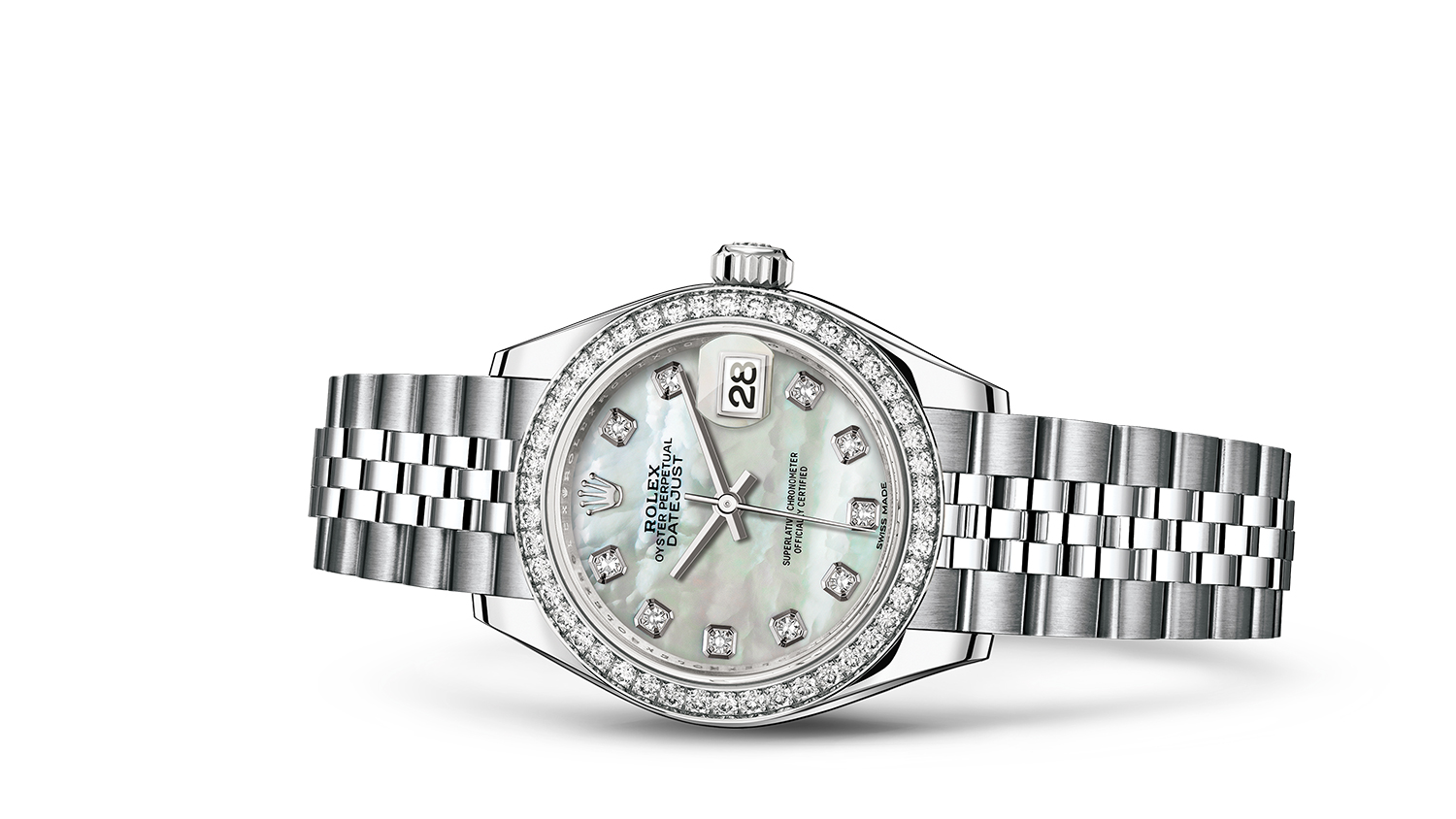 LADY-DATEJUST 28 Oyster, 28 mm, steel, white gold and diamonds